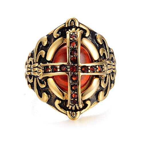 eejart Crusader Templar Cross Christian Christianity Rings Ruby Cubic-Zirconia 316L Stainless Steel Ring (7) ()