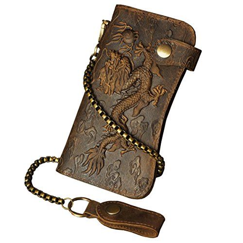 Le'aokuu Mens Genuine Leather Bifold Wallet Organizer Checkbook Iron Chain (1088 Dragon Light - Wallet Mens Chain