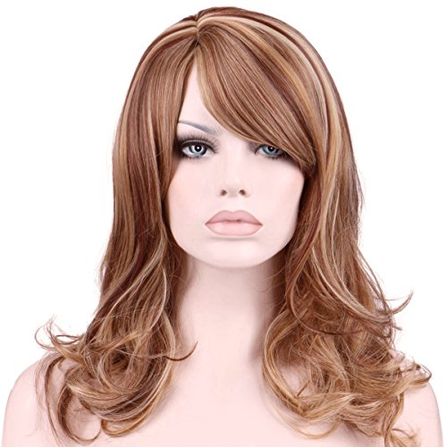 KeeWig Synthetic Strawberry Blonde Wig Wavy Mixed Aurburn with Pale Blonde Hightlights JENNY #R29S (Wig With Curlers)