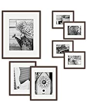 Gallery Perfect 7 Piece Photo Frame Gallery Wall Kit with Decorative Art Prints & Hanging Template