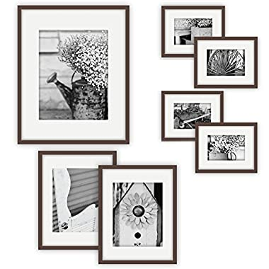 GALLERY PERFECT 7 Piece Walnut Photo Frame Wall Gallery Kit #11FW1447. Includes: Frames, Hanging Wall Template, Decorative Art Prints and Hanging Hardware