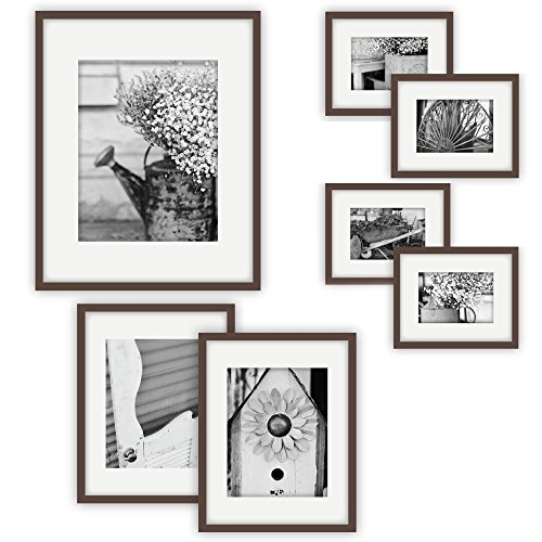 GALLERY PERFECT 7 Piece Walnut Photo Frame Wall Gallery Kit #11FW1447. Includes: Frames, Hanging Wall Template, Decorative Art Prints and Hanging - Wood Picture Frame