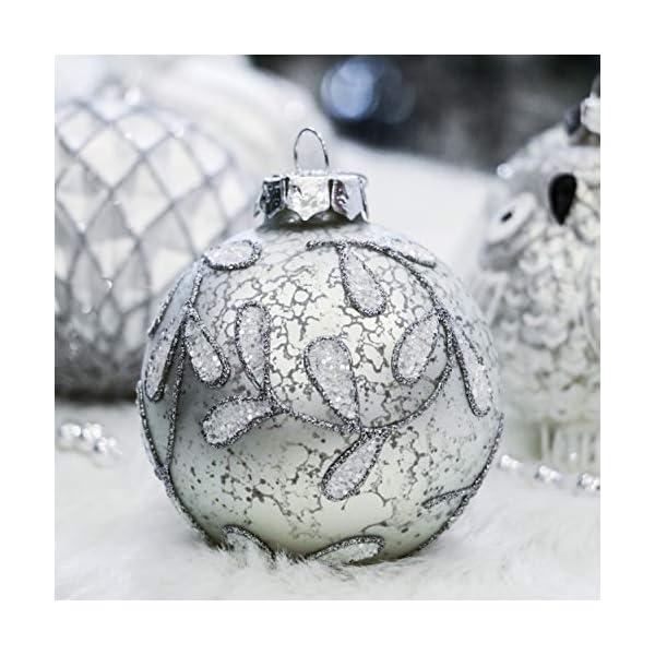 Valery Madelyn Palle di Natale Vetro Addobbi Natalizi Set, 10 Pezzi 10-15cm Silver And White Palline di Natale Decoration for Addobbi Natalizi per Albero 5 spesavip