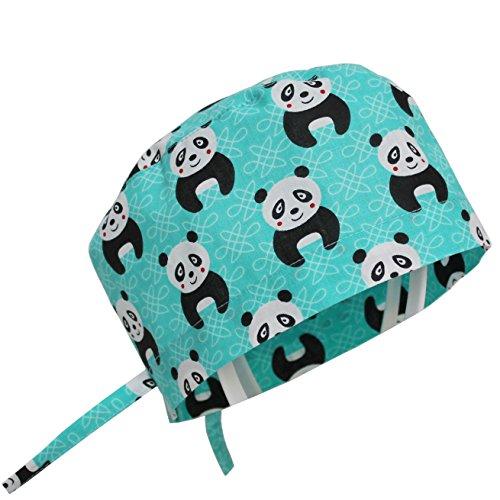 KATE BIANCO Doctor Nurse Scrub Cap Surgical Hat Unisex Animal Print Medical Uniform (OS, Blue Panda)