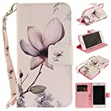 Misteem Case for iPhone 7 Plus/ 8 Plus Animal, Cartoon Anime Comic Leather Case Wallet with Bookstyle Magnetic Closure Card Slot Holder Flip Cover Shockproof Slim Creative Pattern Shell Protective Cover for Apple iPhone 8 Plus/ 7 Plus 5.5 inch [Flower]