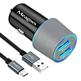 Meagoes Fast USB C Car Charger, Compatible Samsung Note 9/Note 8, Galaxy S9 Plus/S9/S8 +/S8, LG V40 ThinQ/G7/V35/V30/G6/G5, Dual Quick Charge 3.0 Ports, Rapid Charging Car Adapter with Type C Cable