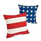 Fun Express Patriotic American Flag Outdoor Throw Pillows (Set/2) Cotton