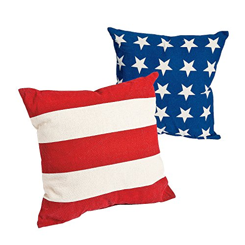 Fun Express Patriotic American Flag Outdoor Throw Pillows (Set/2) Cotton]()