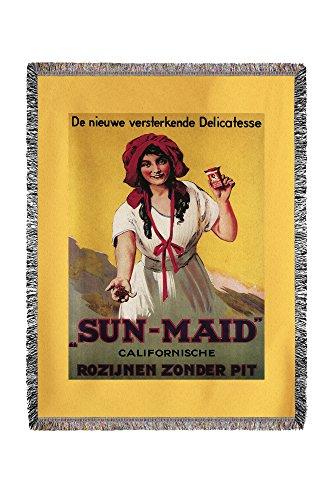 Lantern Press Dutch - Sun-Maid California Raisin - Vintage Advertisement 11280 (60x80 Woven Chenille Yarn Blanket)