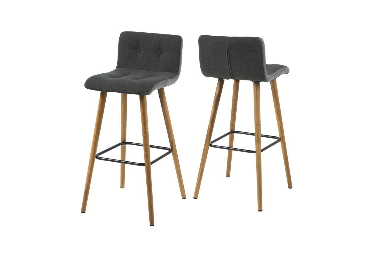 6 x Barstuhl mit Lehne Barhocker Stoff Grau mit Holzbeinen Moderner Barhocker Skandinavisches Design (6er, Dunkelgrau)