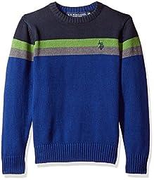 U.S. POLO ASSN. Little Boys\' Chest Stripe Crew Neck Sweater, Navy, L