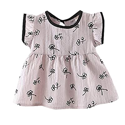 NUWFOR Toddler Baby Kids Girls Fly Sleeve Flowers Skirt Princess Dresses Casual Clothes