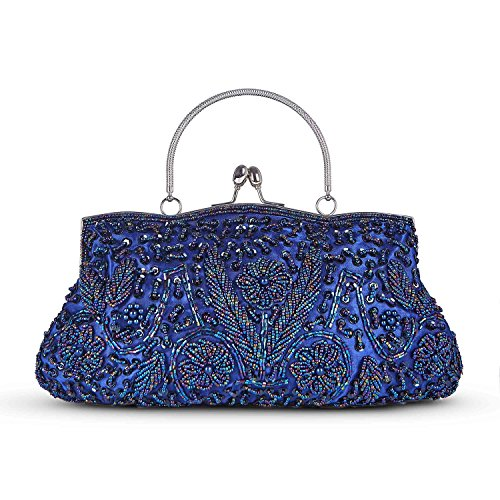 Kaever Beaded Sequin Design Metal Frame Kissing Lock Satin Interior Evening Wedding Party Handbag Clutch Purs (Navy Blue)