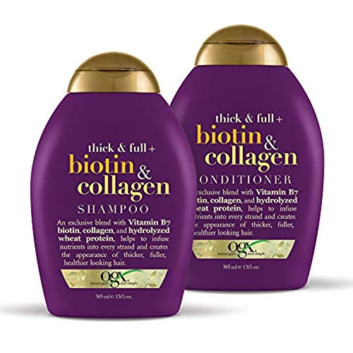 OGX Thick & Full + Biotin & Collagen Shampoo & Conditioner Set, 13 Ounce (packaging may vary)