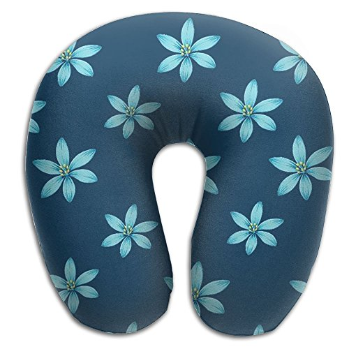 Elegant Blue Flowers Soft Microfiber Neck-support Travel Neck ()