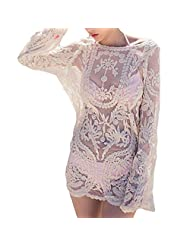 Keepinmind Women's Loose Fit Solid Cutwork Outdoor Sports Cover-Up Beige US 6