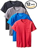 byFruit of the Loom Fruit Of The Loom Men's Pocket Crew Neck T-Shirt (Pack Of 12) (12-Pack Assorted Colors, 3X-Large/54-56'' Chest)