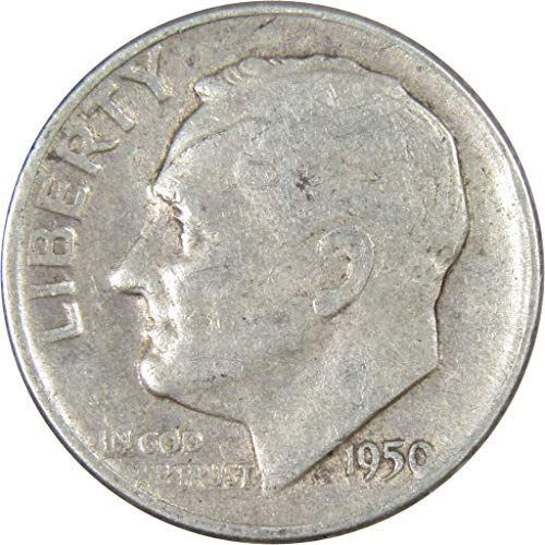 (1950-D 10c Roosevelt Silver Dime Average Circulated)
