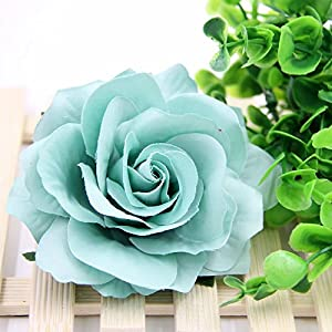 10PCS 9CM Decorative Artificial rose Flower Heads For Wedding Party Decoration DIY Wreath Gift Box Scrapbooking Craft Fake Flowers (tiffany blue) 1