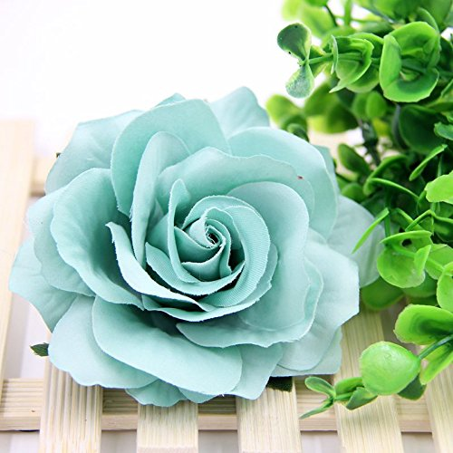 10PCS 9CM Decorative Artificial rose Flower Heads For Wedding Party Decoration DIY Wreath Gift Box Scrapbooking Craft Fake Flowers (tiffany blue) ()