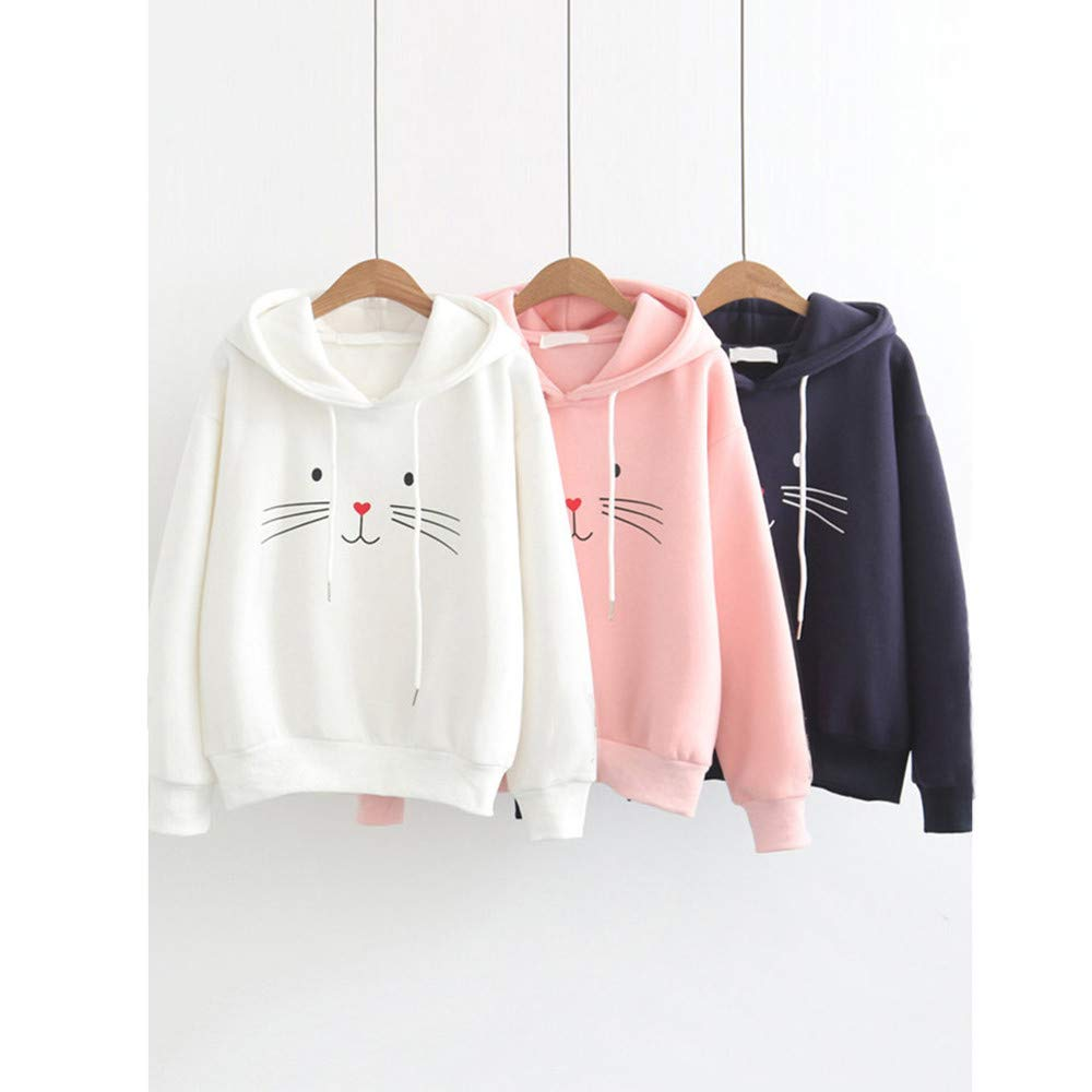 Amazon.com: NREALY New Womens Hoodie Autumn Long Sleeve Cat Printing Hooded Sweatshirt Blouse Tops T Shirt: Clothing