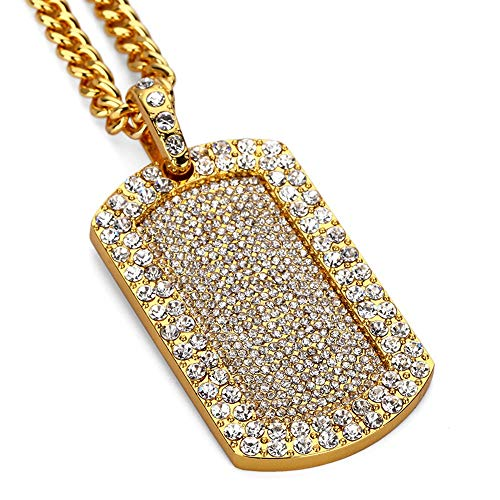 AOVR Hip Hop CUBAN LINK Chain 14k Gold Silver Plated CZ CRYSTAL Bling Bling Fully Iced-Out Dog Tag Pendant (Gold) ()
