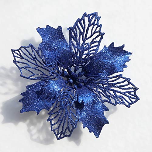 Mobuy Poinsettia Christmas Decorations Christmas Flowers Glitter Christmas Tree Decorations and Ornaments(12 Pack) (Blue) ()
