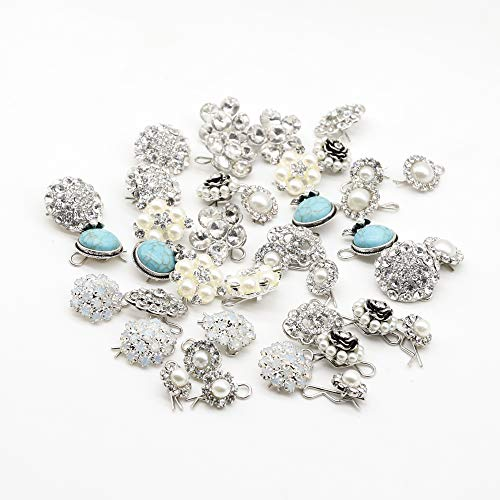 SHINYTIME Crystal Rhinestone Buttons 10 Pcs Sew-On Silver