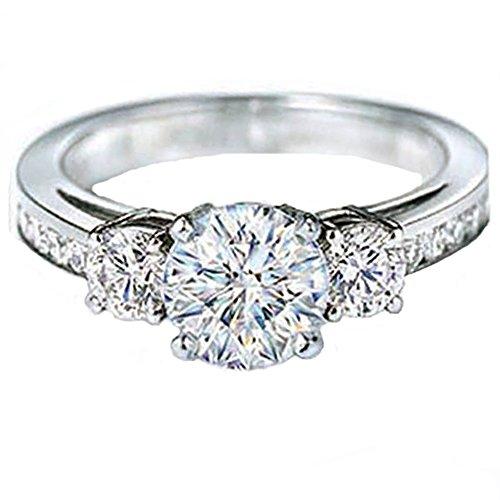 White Gold Round Diamond Ladies Bridal 3 Stone Semi Mount Engagement Ring (No Center Stone) (Size 7) (Semi Mount 3 Stone Ring)