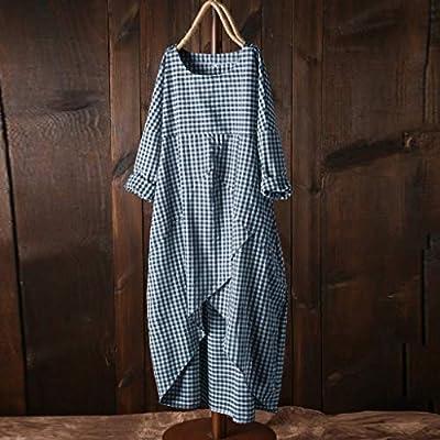 SERYU Fashion Dress Womens Plus Size Casual O-Neck Lattice Cotton and Linen Easy Dress