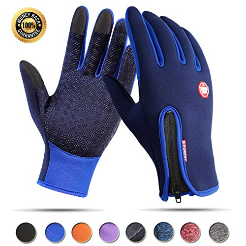 Achiou Touchscreen Gloves for Winter Warm iPhone iPad Bicycling Cycling Driving Anti-Slip Gloves Running Climbing Skiing Outdoor Sports for Men Women (Blue #1, L)
