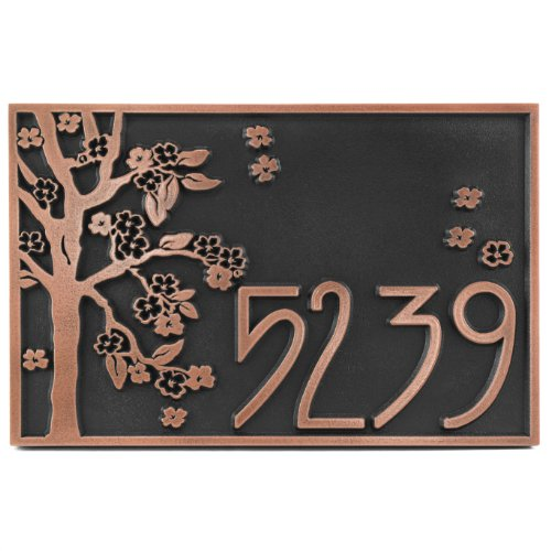 Rectangle Blossom Tree Plaque 12x8 - Raised Copper Patina Coated with Painted Flowers