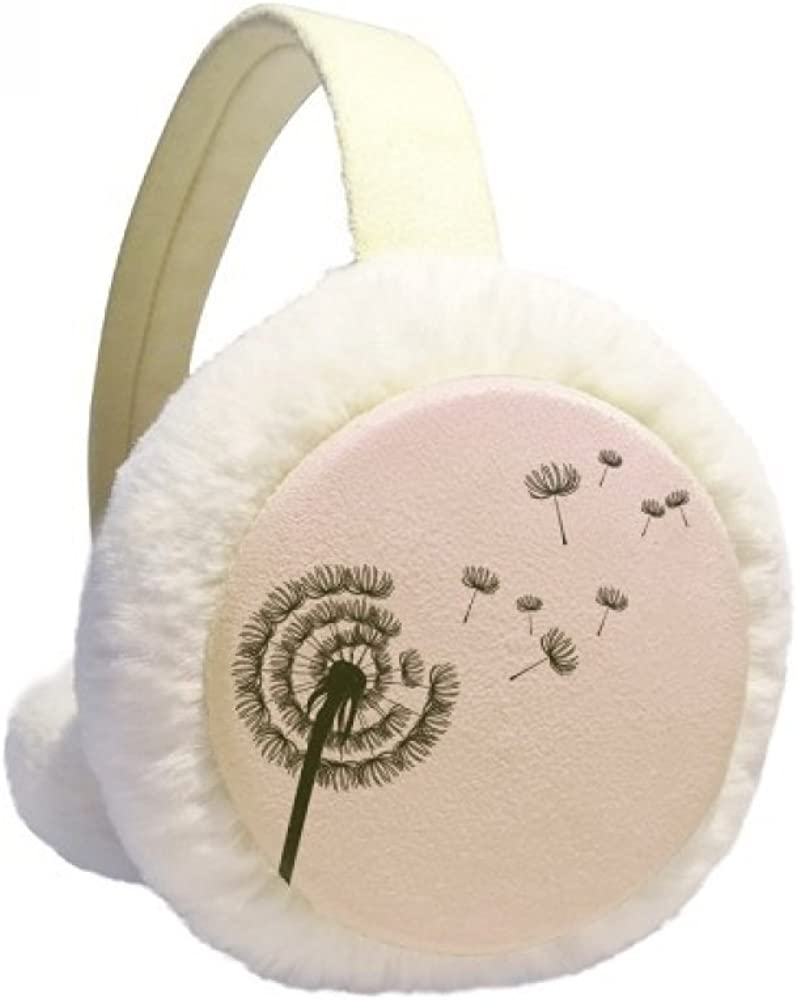 Dandelion Flower Plant Silhouette Winter Earmuffs Ear Warmers Faux Fur Foldable Plush Outdoor Gift