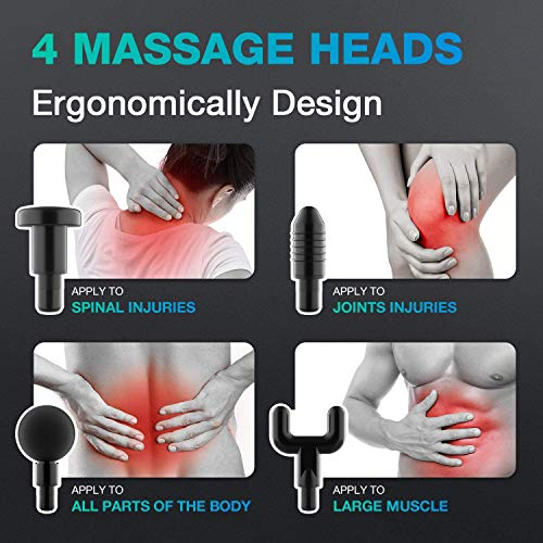 Fascia Gun,Deep Tissue Percussion Electric Handheld Massage Gun, Muscle and Tissue Pain with 4 Speeds Level with 4 Replaceable Massage Heads with 4 Speeds Level