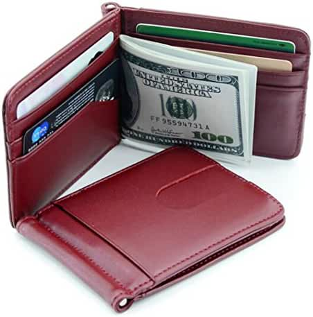 Gracave RFID Blocking Bifold Slim Leather Mens Wallet Money Clip