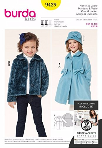 Burda Children S Sewing Pattern 9429 Coat Jacket Hat With Bow
