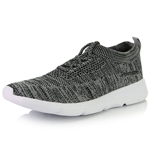 Lace Memory - DailyShoes Women's Mesh Slip-on Athletic Shoes with Fit-6207L Memory Foam Insoles Comfortable Casual Sneakers, Grey Mesh, 7 B(M) US