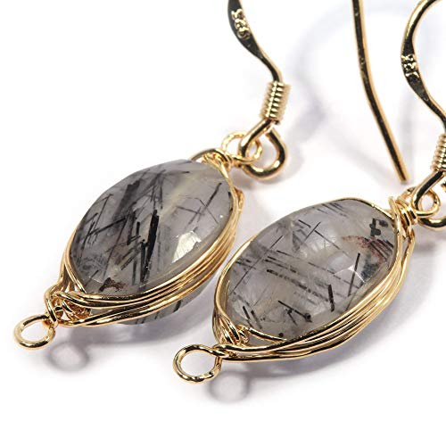 Natural Stone Wire Wrap Dangle Drop Earrings Gold Plated 925 Sterling Silver Hook/Black Rutile Quartz