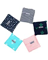 Bagcu Set of 5 Reusable Grocery Shopping Bag, Foldable Shopping Tote, Handy Shape Nylon Recycling Bags for Shopping, Buying Vegetables, Outdoor Travel, Camping, Hiking