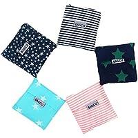 Bagcu Set of 5 Reusable Grocery Shopping Bag, Foldable Shopping Tote, Handy Shape Nylon Recycling Bags for Shopping…