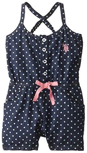 UPC 845649553216, U.S. Polo Assn. Toddler Girls' Denim Romper, Pink Lemonade, 3T