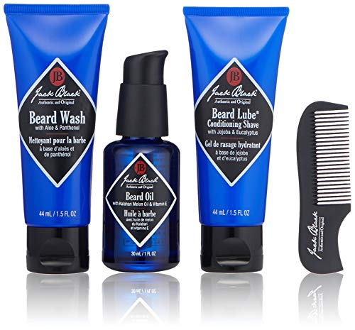 Jack Black - Beard Grooming Kit - Beard Wash, Beard Lube Conditioning Shave, Beard Oil, Beard Comb, Helps Soften Facial Hair, Pre-Shave Oil, Shave Cream, Sulfate-Free Formula, 4-Piece Kit (Lube Beard Shave Conditioning)