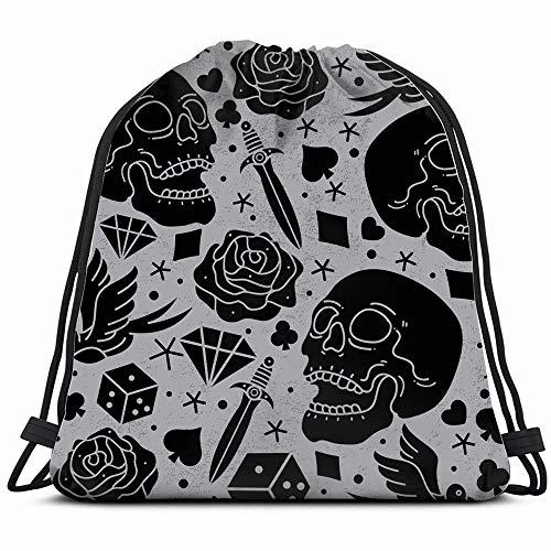 Sign Vector Eps - Horror Tattoo Vector Eps Signs Symbols Drawstring Bag Backpack Gym Dance Bag Reversible Flip Sequin Bling Backpack For Hiking Beach Travel Bags
