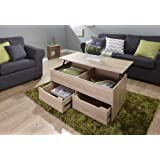 Home Source Oak Coffee Table Storage Unit 2 Drawer Lift Up Top Mechanism Occasional Table