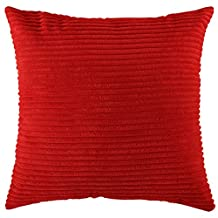 "Home Brilliant Plush Velvet Corduroy Throw Euro Pillow Sham Cushion Cover for Sofa, 26"" x 26"" (66 x 66 cm), Bright Red"