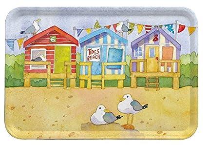 Casetas de playa – al lado del mar – Emma Ball Multicolor bandeja de melamina –