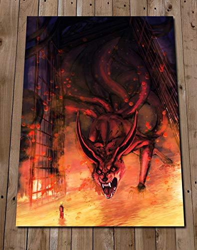 Kurama Art Print Poster - Kyuubi Nine Tails Fox Illustration Painting - Shippuden Art
