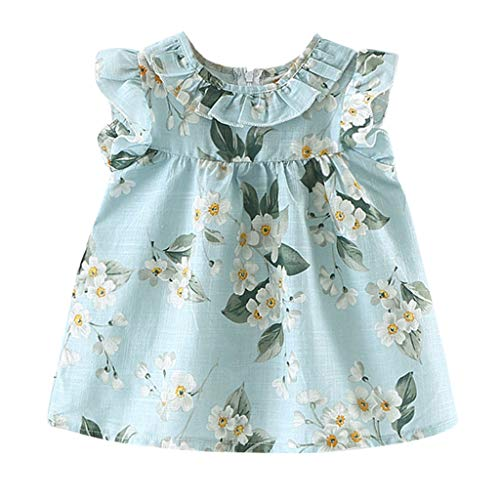 Newmao Infant Girl Summer Fly Sleeve Solid Bow Dress Princess Casual Dress