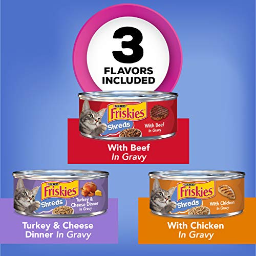 Purina Friskies Gravy Wet Cat Food Variety Pack, Shreds Beef, Chicken and Turkey & Cheese Dinner - (24) 5.5 oz. Cans 3