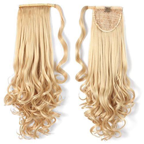 OneDor 20' Long Curly Wrap Around Ponytail Hair Extension Synthetic 120g-130g (613# Pre Bleach Blonde)